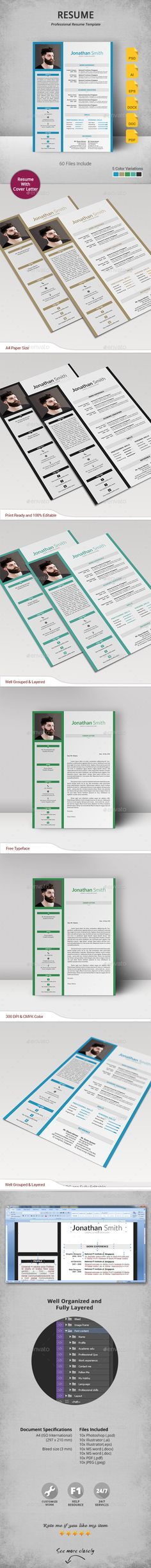 #Resume - Resumes #Stationery Download here: https://graphicriver.net/item/resume/16831505?ref=alena994