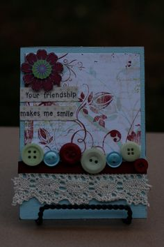 Beautiful Friendship Card- handmade shabby chic card with ribbon, flower, buttons, and inked edges.. $6.00, via Etsy.
