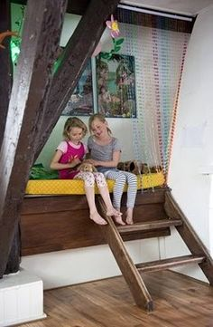 A beautiful wooden bunk perch with beaded privacy.