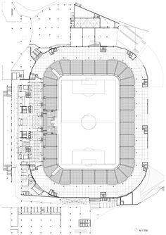 Football Stadium of Sports Park Stožice,Plan Stadium Architecture, Architecture Plan, Public Architecture, Soccer Stadium, Football Stadiums, Football Soccer, Parking Plan, Architecture Concept Drawings, Sport Park