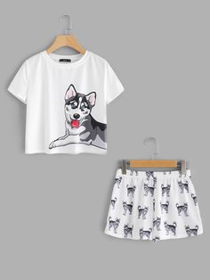SheIn offers Dog Print Tee & Shor - Pajama Sets - Ideas of Pajama Sets - Shop Dog Print Tee & Shorts Pajama Set online. SheIn offers Dog Print Tee & Shorts Pajama Set & more to fit your fashionable needs. Cute Pajama Sets, Cute Pjs, Cute Pajamas, Summer Pajamas, Dog Pajamas, Pajama Outfits, Pajama Shorts, Girls Fashion Clothes, Teen Fashion Outfits