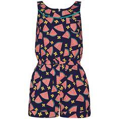 Buy Yumi Girl Watermelon Print Playsuit, Navy/Pink Online at johnlewis.com