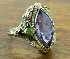 Vintage 14k gold LAFRANCE AUTHENTIC ART DECO TANZANITE ENAMEL ring FRANCE  #ArtDeco