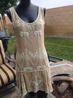 ANTROPOLOGIE *6 SHore Road* Beaded Flapper Style Drop Waist Nude Silk Dress S #6ShoreROad #Sheath #Cocktail
