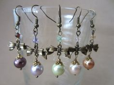 Bronze Bow Colored Pearl & Crystal Accent Dangle by Pizzelwaddels, $19.97