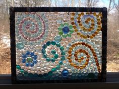 Glass gems and a picture frame.suncatchers with gems and resin Gem Crafts, Mosaic Crafts, Mosaic Projects, Stained Glass Projects, Mosaic Art, Mosaic Glass, Marble Crafts, Mosaic Tiles, Glass Wall Art