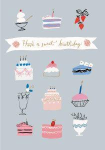 Roger la Borde | Sweet Birthday Cake Card by Emily Isabella, painting, greeting card, design, colour, illustration, cake, birthday