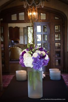 Tall Arrangement in Frosted Cylinder Vase of Purple and White Hydrangea, Sahara Roses, Lisianthus, Roses and Curly Willow