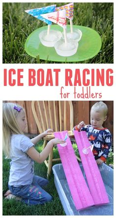 Ice Boat Racing for Toddlers! So easy to make with the little ones, and at the same time you can teach them about water freezing and what happens. #summertime #keepitcool #toddlerapproved #toddleractivities #iceboats #backyardfun