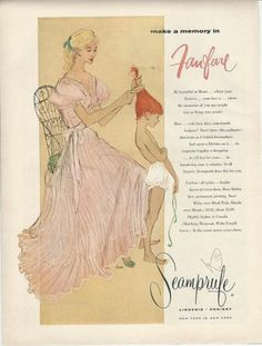 1956 Seamprufe pink nightgown lingerie ad woman brushes hair of redhead little girl in underwear cute art! | eBay