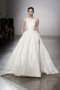 Amsale taffeta ball dress with open back detail, $4,200; for information: amsale.com