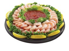 Captain's Shrimp Platter - Includes extra-large cooked cocktail shrimp with 16 oz. cocktail sauce.