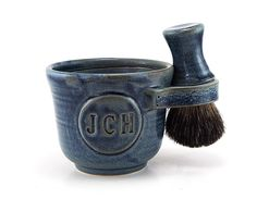 Personalized Wet Shaving Set: Black Badger Brush, Shave Mug with Initials, Husband Gift - Custom Made in 6-8 Weeks See Item Description by MiriHardyPottery on Etsy https://www.etsy.com/listing/119476122/personalized-wet-shaving-set-black