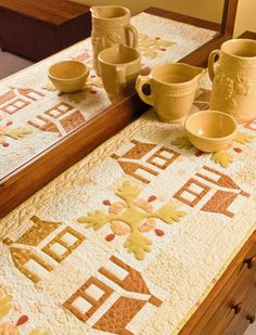 Schoolhouse and Oak leaf table runner, in:  Skinny Quilts and Table Runners II - 15 Designs from Celebrated Quilters