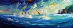 'Regatta Practice' - Acrylic on Canvas, 100x40cm