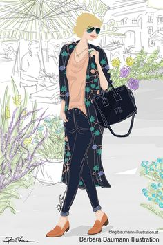 Fashion drawing of a stylish young woman in color spring clothes with a Vintage flower style outfit in front of a plant background. The Digital drawing of the lady is done step by step on the pad with a simple and rough draft on a separate layer to define the female human body proportions for the figure in a dynamic walking pose. learn more helpful and easy-to-follow #drawing tips for beginners with quick guidelines and references for realistic portrait drawing in my tutorials, sketchbook Paul Green, Spring Clothes, Spring Outfits, Fashion Illustrations, Fashion Sketches, Human Body Proportions, Walking Poses, Illustrator, Plant Background