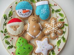 Felt Cookie Holiday Ornaments  Felt Christmas by GingerSweetCrafts, $29.99