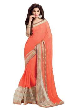 Orange Georgette Party Wear Saree