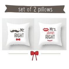 His and hers pillow 16x16 Decorative throw pillows grey red white pillow cover home decor ornament and decoration housewares