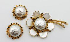 Vintage Florenza Brooch Earrings Mother of Pearl by HeirloomBandB, $98.00