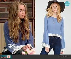 Maya's blue crochet trim blouse on Girl Meets World.  Outfit Details: http://wornontv.net/52091/ #GirlMeetsWorld