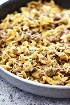 This Easy Beef Stroganoff recipe is a classic dish the whole family will love. It's filled with ground beef and a mushroom sauce served over egg noodles. It is delicious! Beef Brisket Recipes, Smoked Meat Recipes, Ground Beef Recipes, Stroganoff Recipe, Beef Stroganoff, Beef Casserole Recipes, Sausage Recipes, Taco Casserole, Soup Recipes