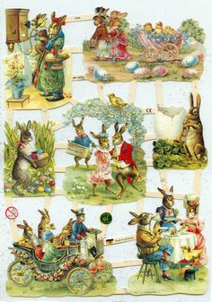 DIE CUT RELIEFS  Easter Bunnies Celebrating by OneDayLongAgo, $2.95
