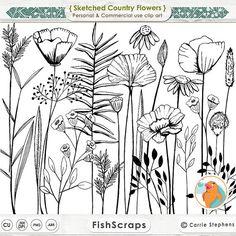SALE 50% Long Stem Flower Line Art Sketched Flower por FishScraps