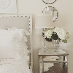 tips for you to give your bedroom an easy makeover : easy bedroom make over mirrored nightstand, white roses, white bedding, mercury glass Glam Bedroom, Home Bedroom, Bedroom Decor, Bedroom Mirrors, Fancy Bedroom, Bedroom Apartment, Bedroom Ideas, Master Bedroom, Mirrored Bedroom Furniture