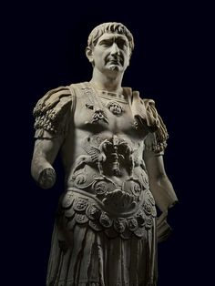 Trajan, who ruled from A.D. 98 until 117, when he fell ill and died, expanded the Roman Empire to its farthest boundaries. In this marble statue he wears armor typically used in triumphal parades.  Ny Carlsberg Glyptotek, Copenhagen; photographed at Musei Capitolini, Rome