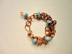 Handmade Forged Copper Blue Glass Beads by sadiejewelrydesign, $28.00
