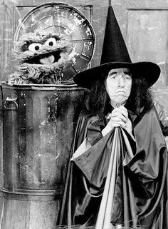 Margaret Hamilton (the Wicked Witch of the West from the Wizard of Oz) with Oscar the Grouch on Sesame Street, 1978