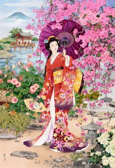 "Goldmilky cross stitch kit '' Japanese Geisha in Spring Garden"" inch Art Geisha, Geisha Kunst, Japanese Prints, Japanese Kimono, Japanese Lady, Japanese Beauty, Japan Kultur, Graffiti Kunst, Art Asiatique"