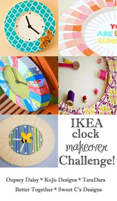 DIY IKEA Clock Revamp challenge. Same white clock done 5 different ways by different bloggers (IKEA hacks)