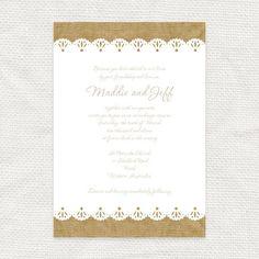 burlap and lace invitation