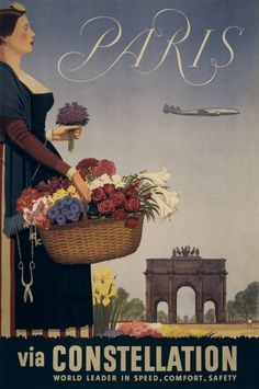 Vintage France Paris French Classic Travel Poster Re-Print Vintage French Posters, Vintage Travel Posters, French Vintage, Vintage Airline, French Classic, Paris Travel, France Travel, Paris France, Tourism Poster