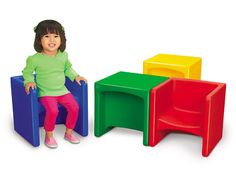 Just turn Lakeshore's lightweight Chair Cubes over to create a variety of seating options in 3 different heights!