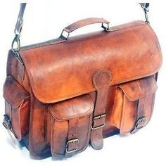 Brown Leather Dakota Two Pocket Messenger Bag