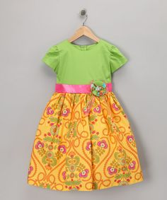 Take a look at this Yellow Abroad Dress - Toddler & Girls by Pretty Me on #zulily today!