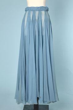 Jupe longue en mousseline de soie bleu 1930