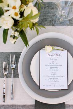 La Tavola Fine Linen Rental: Vintage Stripe Onyx | Photography: Megan Clouse, Event Design: Harlin & Sparrow Events, Florals: Poppystone Florals
