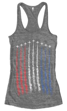 Red White Blue Air Force Flyover Women's Burnout Racerback Tank Top Proud American Independence Day Airplane Show Military Mom, Military Gifts, Airforce Wife, Blue Air, Air Force Mom, And So It Begins, Racerback Tank Top, Mom Shirts, Red White Blue