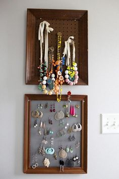 Jewellery storage. Old frames can also be used to hang your fashionable jewellery collection as they will not only be used to store them easily but you can also display the beautiful collectibles.