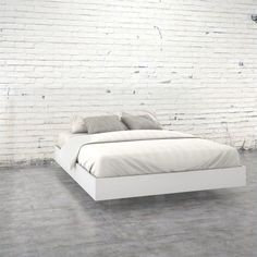 Lowest price online on all Nexera Acapella Queen Size Platform Bed in White and Melamine - 346003