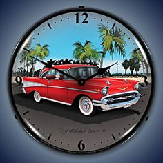 Unique Clock Works - 1957 Chevy, Wall Clock Automobile Art, $124.95 (http://uniqueclockworks.com/backlit-clocks/car-art-clocks/1957-chevy-wall-clock-automobile-art/)
