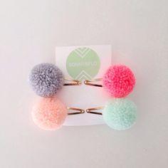 Large Pom Pom Hairclips