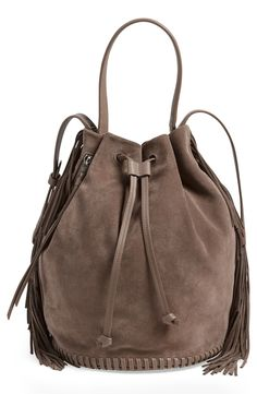 Obsessing over this ALLSAINTS 'Club' fringe bucket bag.