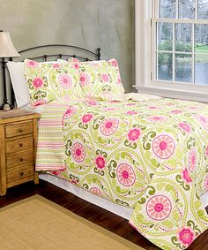 Lime Green & Pink Serenade Reversible Quilt Set by Pegasus Home Fashions #zulily #zulilyfinds