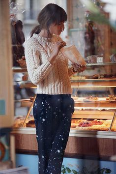 """Tuesday Ten  January Style Tips Pair """"pajama"""" pants with a cable knit. 7aac1dabdb9"""