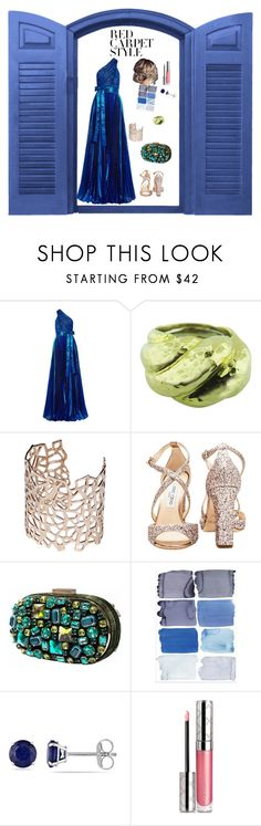 """Red carpet style"" by solarprivacy ❤ liked on Polyvore featuring Elie Saab, David Webb, Co.Ro, Jimmy Choo, Nissa Jewelry, Allurez, By Terry, redcarpetstyle and OscarsThrowback"